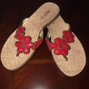 Kenneth Cole Reaction Red Beaded Flip-flops